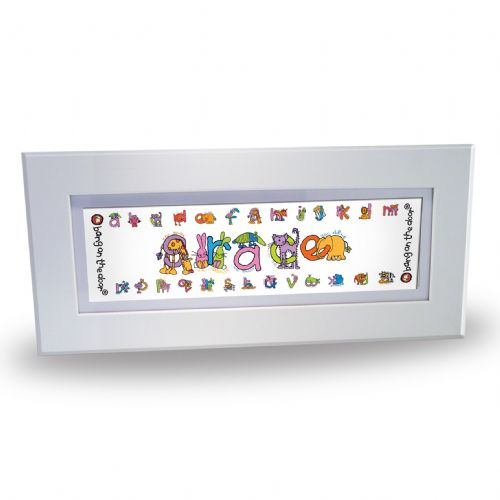 Personalised Bang On The Door Animal Alphabet Girls Name Frame